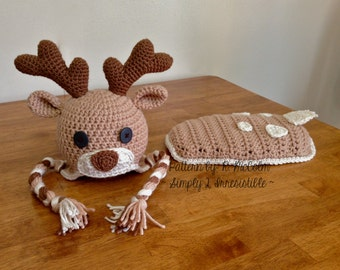 Deer, Elk Hat Crochet Pattern Set - 110 - US and UK Terms - Newborn to 6 Months