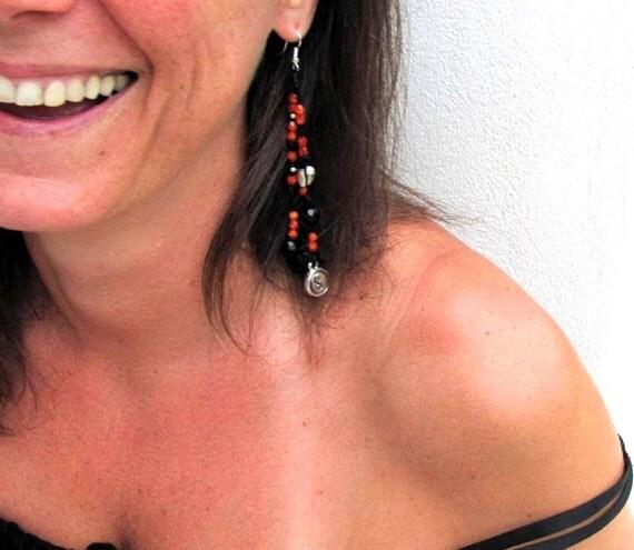 Single earring Long, Yoga jewelry, Yin yiang symbol, Summer Fashion,