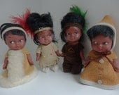 Indian Dolls, 1950s Native American, Rubber with Real Leather clothes, set of 4