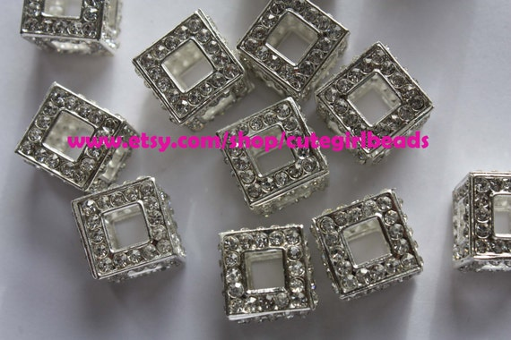 SILVER Rhinestone Cube SquareBeads (14mm) 6 pcs BASKETBALL WIVES