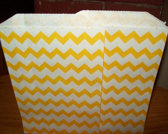 Chevron Yellow Middy Bitty Treat, Favor, Party, Bags Set of 20