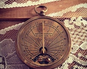 1 - Vintage Style Nautical Sundial Pocket Watch Pendant Charm REALLY WORKS Nautical Antique Brass Bronze (BA019)