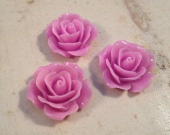 6 Pcs PINK PURPLE Resin Flowers Vintage Style Plastic Rose Cabochon flowers Resin Roses 18x18x8mm