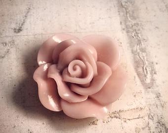 6 Pcs Large Beautiful Rose Cabochons 30mm Dusty Rose Pink Flower