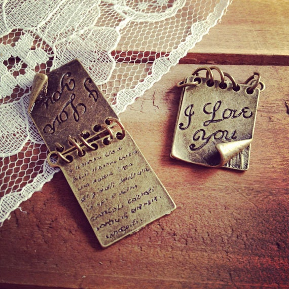 1 Pc Love Letter Charm Antique Bronze Love Letter Notebook School I Love You Charm Love Vintage Style Charm Jewelry Supplies (BB158)