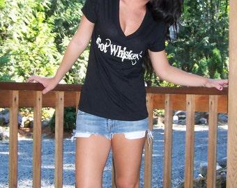 LSW Girls Got Whiskey Shit-ch YEH Black n White V-Neck Screen Print T-shirt.