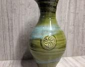 Colm De Ris Emerald Shamrock Pottery Vase