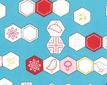 Sew Stitchy Collection - Novelty Hexagons - Aqua by Aneela Hoey -  Moda