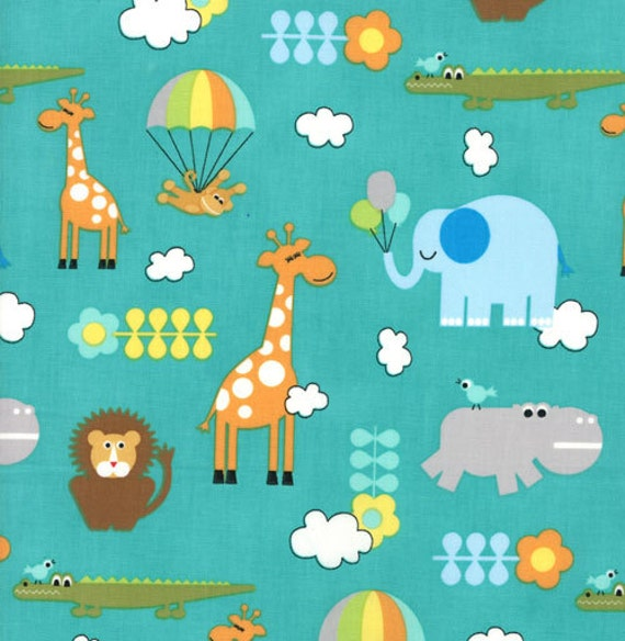 Bungle jungle collection children 39 s critters turquoise for Childrens jungle fabric