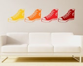 basketball shoes wall decal, athletic shoes, boys sports room decal