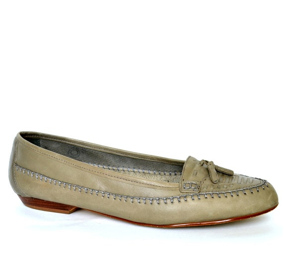 Vintage TASSEL Woven Gray Leather Loafer Flats 7