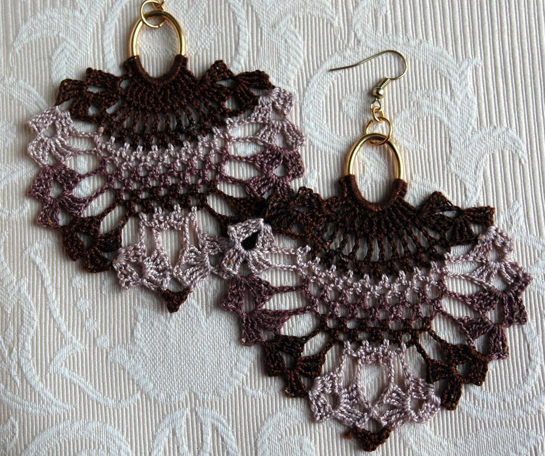 Crochet Hook Earrings: Crocheted Pineapple Earrings Shades Of Brown