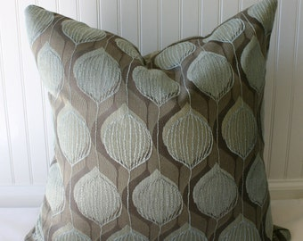 SALE  / IN STOCK / Modern Leaf Texture Pillow Cover / 20 x 20 / Taupe, brown, celedon upholstery with textured back
