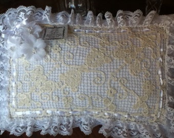 Wedding Pillow Antique lace-Ready to ship