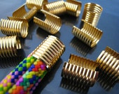 6 pcs Gold Plated Very Large Adjustable Crimp Round Tone Tube Curve Fold Over End Cap without Loop