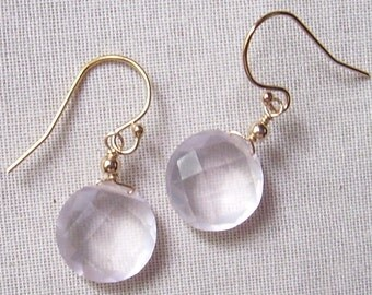 AAA Faceted Rose Quartz Coin Briolette Earrings with 14k Gold Filled Earwires