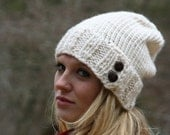 Slouchy Hat Knitted Beanie Winter Hat With Two Buttons THE BOREAL Fisherman