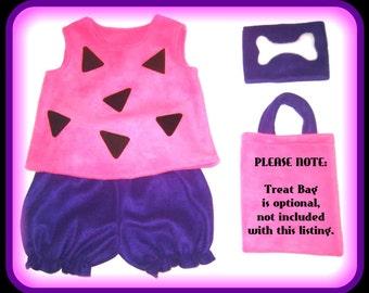 Pebbles Flintstones Custom Made Halloween Costume Pink & Purple Set