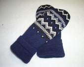 CLEARANCE - Recycled  Mittens - Women's Navy Blue with White and Black Design