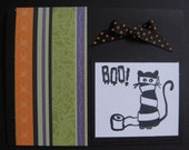 BOO Hand-stamped Cat Halloween Card