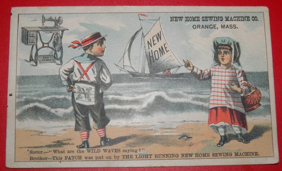 1900's New Home Sewing Machine Tradecard Girl and Boy on Ocean FREE SHIPPING