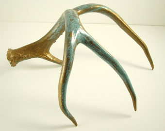 Painted Deer Antler Gold Natural Aqua Patina Art Sculpture