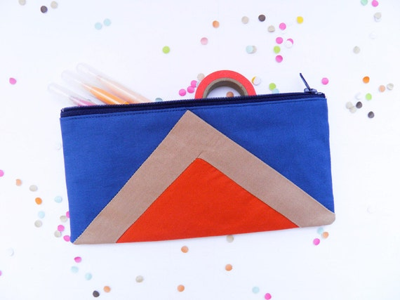 """zipper pouch 4""""X8""""  geometry  pencil case in navy blue and paprika"""