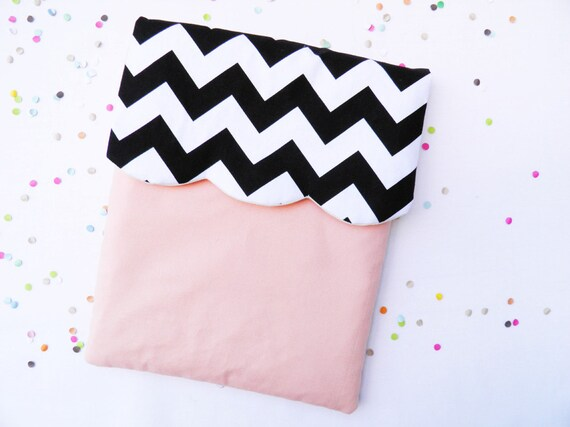 Ipad case / sleeve,  geometric black chevron, peach and caramel
