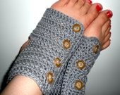 Button Up Crochet Dance/Pilates Toeless Socks// Grey Ready to Ship