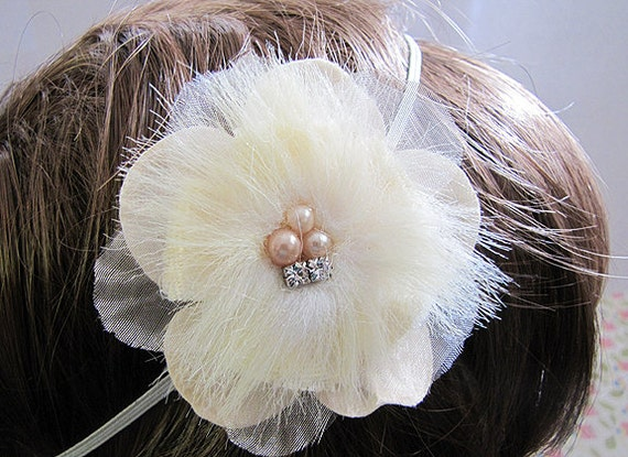 Ivory Flower Headband, Rhinestone and Beaded Center,  Wedding Hair Accessories, Elastic Band for Any Age
