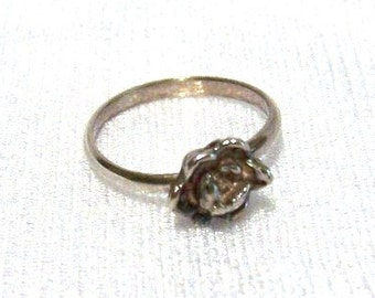 Sterling Silver Ring: Rose Flower Ring - Size 5 3/4 - K1003b