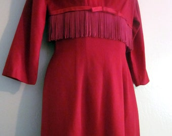 Vintage 50s 60s Red Wiggle Pencil Evening Dress with Sexy Fringe Trim. Valentine's Day Holiday