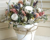 Dried Flowers in a Clay Pot with Handmade Sola Roses