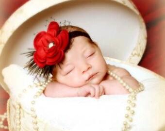 Baby Headband,Deep Red Flower Headband,Black Lace Headband With Russian Veiling and Feathers, Infant Headband, Girls Headband, Photo Prop
