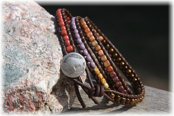 Bohemian Jewelry / Bohemian Bracelet / Wrap Bracelet / Triple Wrap / Leather Bracelet / Rainbow Bracelet  / Tribal /