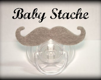Mustache Pacifier-Baby Mustache-Little Man Party-Mustache Party-Baby Shower gift-Baby gift-The Handlebar-GRAY-Little Man-Mustache Pacifier