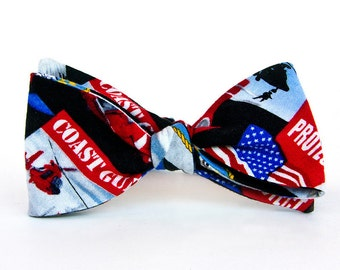 Boys Freestyle Bow Tie Coast Guard School Picture Photo Prop Military Welcome Home