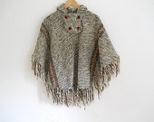 Vintage Wool Poncho, Made in Uruguay, Back To School, Winter Clothes, Handmade VIntage, 1970's Retro Cloak, Autumn Outerwear, College Coed