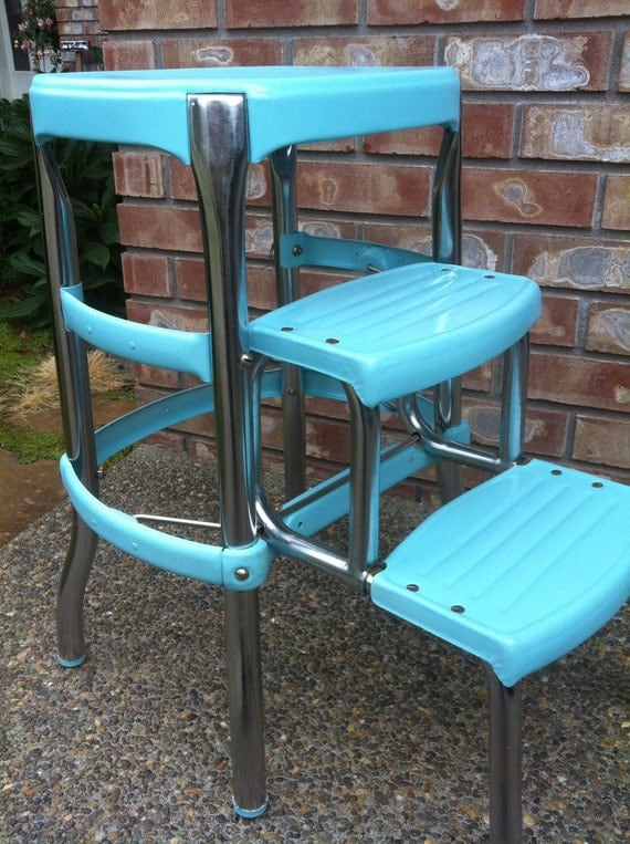 Turquoise and Chrome Kitchen Stool