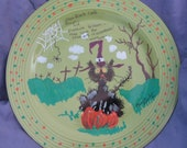 "11 inch painted plate ""When Black Cats Prowl"