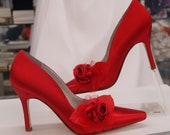 Red Rose Wedding Shoes Sexy Heels - more colors sexy heel shoes, closed pointy toe pump, crimson satin