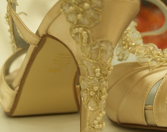 Wedding Shoes Gold Champagne- bridal shoes champagne, open toe hand dyed satin heels, pearls and lace, Old Hollywood Glamour