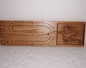 Cribbage board oak wood carved dragon
