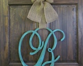 Single Letter Monogram Wooden Door Decor - 18 inches - Script Font