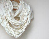Women infinity white scarf - Valentine day gift - felted wool circle scarf - cobweb - made to order