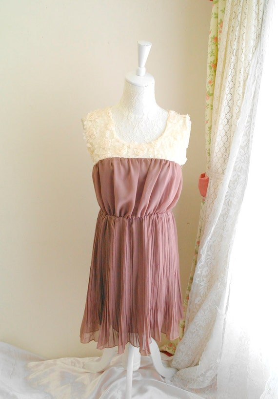 CRAZY SALE - French Mademoiselle rose pattern fabric tunic cocktail tank sleeveless pleated chiffon women sundress beaver color keyhole bac