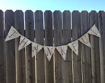 THANKFUL BANNER White Wash Burlap / Bunting / Decoration / Home Decor / Fall Decoration