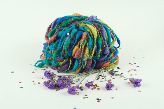 Knitting Yarn - Handspun Art Yarn - Rainbow Garden Beehives