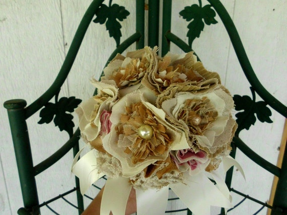 Reserved for Roe Remaining Balance Custom Rustic Wedding Bouquet, Medium, Bridal, Vintage Inspired, Cotton Fabric Flower Bouquet, weddings