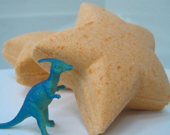 Star Bath Bomb with Plastic Dinosuar Toy Inside
